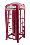 Classic British red phone booth in London UK, isolated on white Stock Images