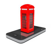 Classic British Red Phone Booth over Mobile Phone. 3d Rendering Stock Images
