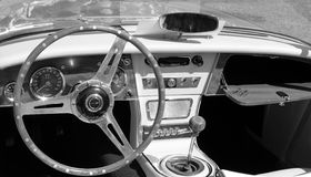 Classic british roadster interior Stock Photos