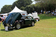 Classic british sports car open hood Stock Photo