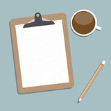 Classic brown clipboard with blank white paper. Stock Photo