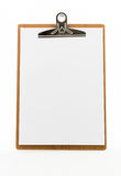 Classic brown clipboard with blank white paper Stock Photos