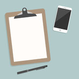 Classic brown clipboard with blank white paper. With smartphone and a pencil put alongside Vector illustration Royalty Free Stock Photo