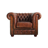 Classic Brown leather armchair. Royalty Free Stock Photos