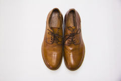 Classic brown leather male shoes from above Royalty Free Stock Images