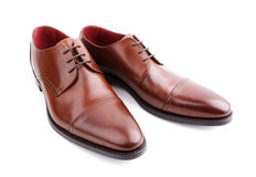 Classic brown mans leather shoes Royalty Free Stock Photography