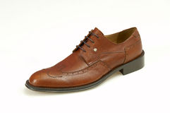Classic brown men shoes. Isolated brown leather men shoes Royalty Free Stock Photo