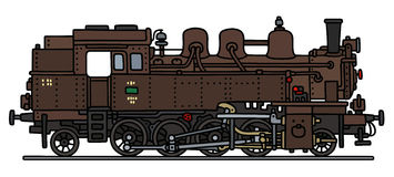 Classic brown steam locomotive Stock Photo
