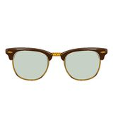 Classic brown sunglasses clubmaster isolated on a white background. Color line art. Retro design. Royalty Free Stock Photos