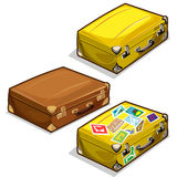 Classic brown travel bag with travel stamps. Vector illustration isolated in cartoon style Stock Photo