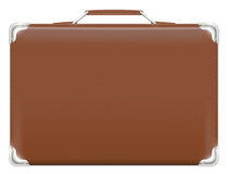 Classic brown travel suitcase bag on a white background. A classic brown travel suitcase bag on a white background Royalty Free Stock Photography