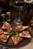 Classic Bruschetta with tomatoes and herbs 6 pieces. Stock Photography