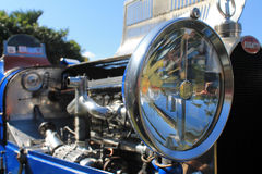 Classic bugatti racer headlamp and engine Stock Photo