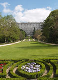 Classic building. Madrid Royal Palace view from Sabatini's Garden stock image