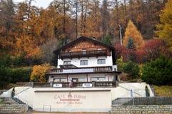 Classic building and resort of Skiparadise Nauders in Bolzano or bozen at Italy. Classic building and resort of Skiparadise Nauders in countryside at Trentino stock image