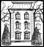 Classic building with two trees. Sketch Royalty Free Stock Image