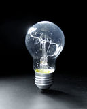 Classic bulb. Classic electric bulb on black background. Old lightbulb Royalty Free Stock Photography