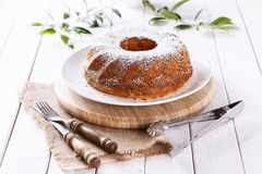 Classic Bundt Cake with icing sugar Stock Photos