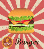 Classic burger. Over grunge background vector illustration Stock Image