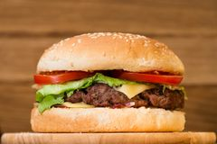 classic burger close-up royalty free stock images