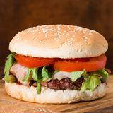 classic burger close-up royalty free stock photography