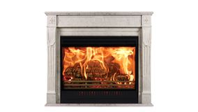Classic Burning Fireplace of White Marble, Isolated on White.  stock photography