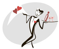 Classic butler serving a heart Stock Images