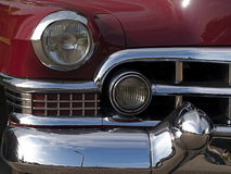 Classic Cadillac. Details of a classic red Cadillac Stock Image