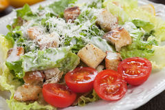 Classic caesar salad. With roman lettuce, croutons and cheese Royalty Free Stock Image