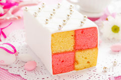 Classic cake biscuit Battenberg. With marzipan Stock Images