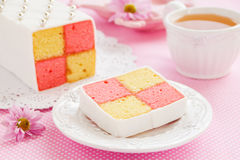 Classic cake biscuit Battenberg Royalty Free Stock Photography