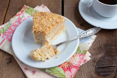 Classic Cake Napoleon of puff pastry with custard cream on a pla Royalty Free Stock Photography