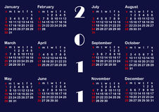 Classic calendar template for 2011. vector. Classic calendar template for 2011. american style. vector Stock Image