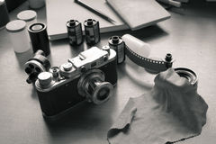 Classic camera and films. stock photos