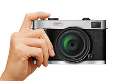 Classic Camera in hand on white Royalty Free Stock Image