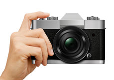 Classic Camera in hand on white Stock Photos