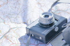 Tourist classic camera Royalty Free Stock Photo