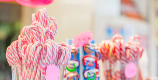 Classic candy canes for sale. Food or for decoration. Selective focus Royalty Free Stock Images