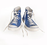 Classic canvas blue shoe and laces Stock Image