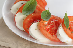 Classic caprese salad on plate close up Royalty Free Stock Photography