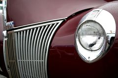 Classic car. Wet  Vintage car close up view Stock Photography
