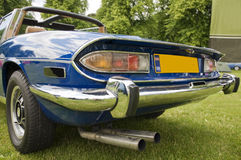 Classic car. Classic, blue, sports car, back view Stock Images