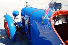 Classic Car. Beautiful blue classic car at the IZOD IndyCar Championship Series.  These classic cars were on display and some raced as well Royalty Free Stock Images