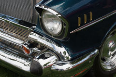 Classic car. Front of a classic car with headlight and fender Stock Photos