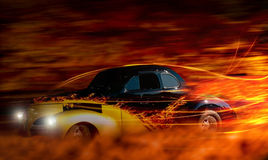 Classic car. Classic hot rod car speeding through the night Royalty Free Stock Photos