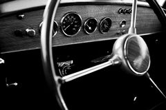 Classic car. View of the interior of an old vintage car Stock Photography