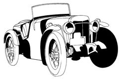 Classic car. Black and white vector illustration of a classic car Stock Image