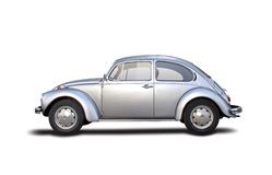 Classic car. Old silver VW Beatle 1955 Royalty Free Stock Photography