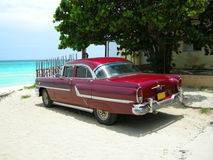 Classic car. Classic nostalgic car from the sixties on the shores of Varadero beach, Cuba royalty free stock photo
