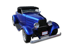 Classic Car. Blue classic car with all marking removed and isolated on white with clipping path around car excluding shadow Royalty Free Stock Photos